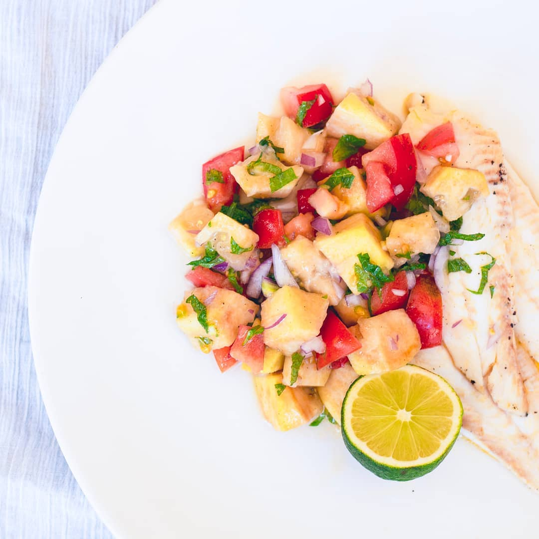 Feifoa Salsa with Pan Fried Fish - Twisted Citrus